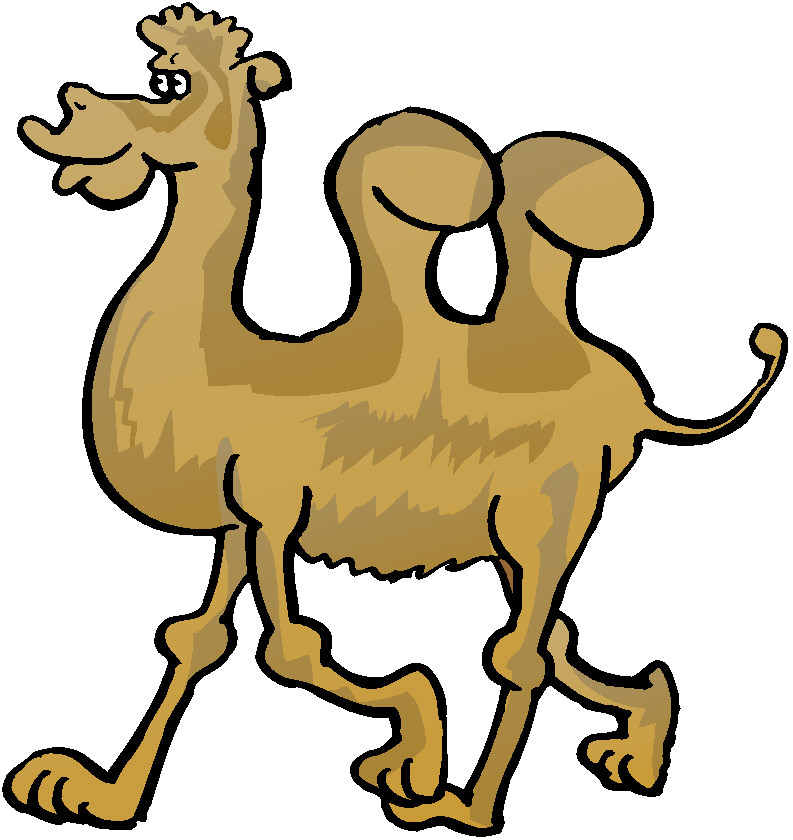 Camel clipart animated gif. Pencil and in color