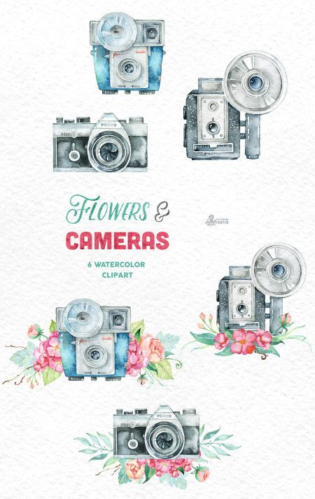 Camera clipart floral. Flowers cameras handpainted invitation