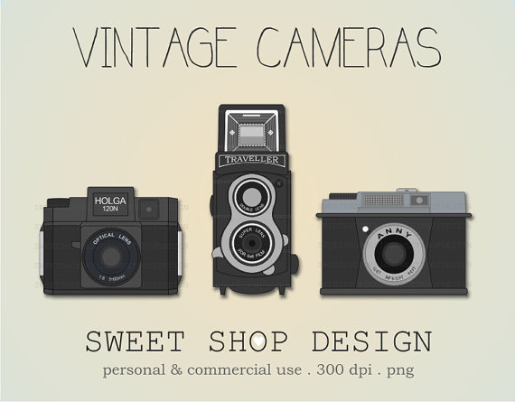 Camera clipart retro camera. Vintage clip art ilustration