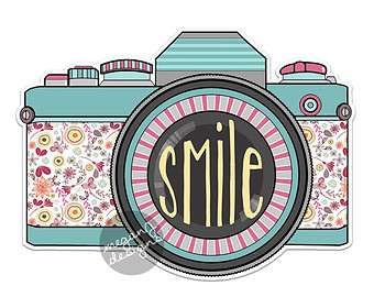 Camera clipart retro camera. Cute sticker etsy decal