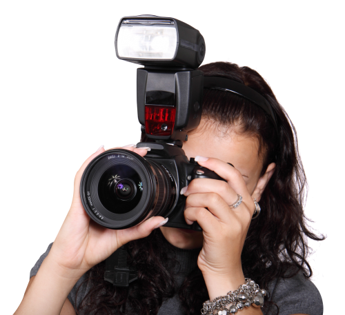 Camera photo png. Woman taking with a