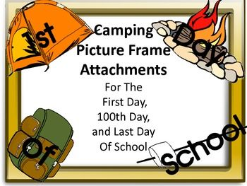Camp clipart first day. Camping picture frame attachments