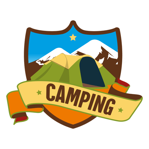 Vector magazines retro. Shield camping badge transparent