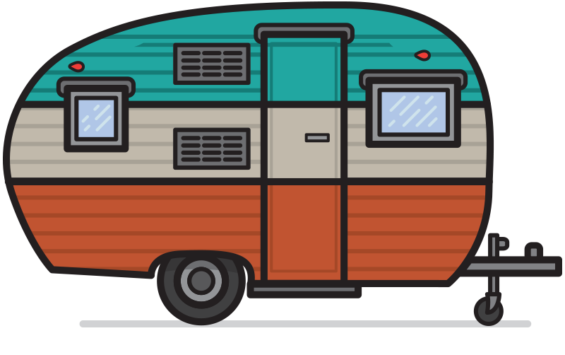 Camp vector vintage trailer. Collection of camping