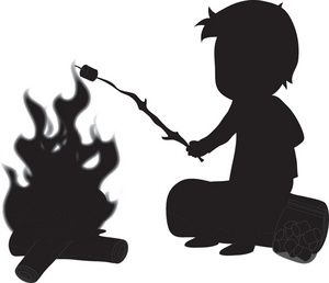 Campfire clipart boy. Camping image silhouette of