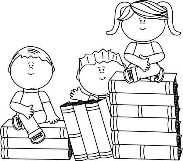 Children clipart library. Black and white preschool