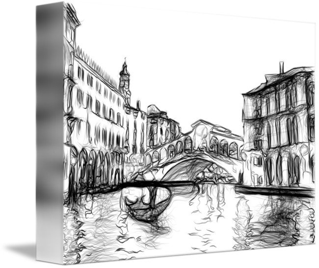 Venice drawing. Rialto bridge grand canal