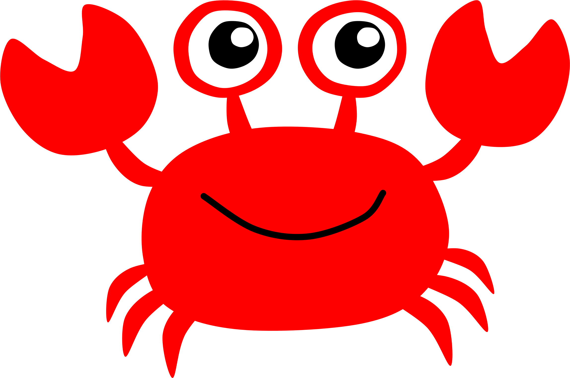 Seafood drawing red crab. Collection of free carburetant