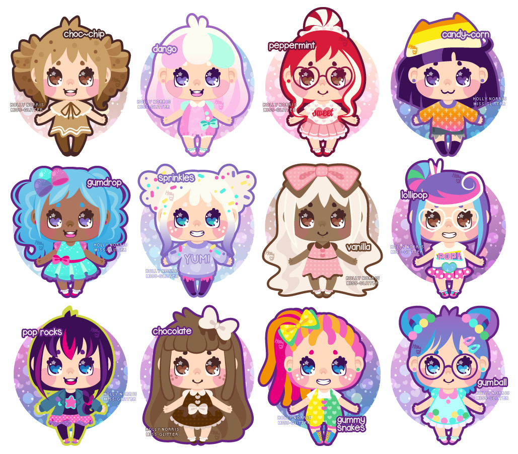 Candies drawing cartoon. Candy girl adoptables open