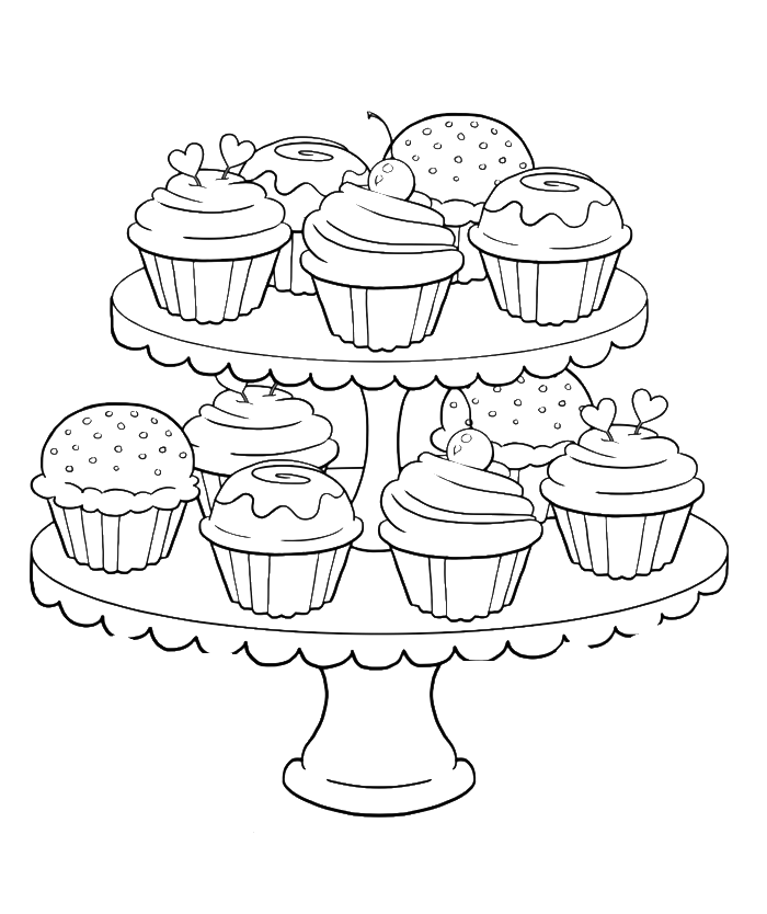 Drawing candy coloring sheet. Birthday cupcake steady and