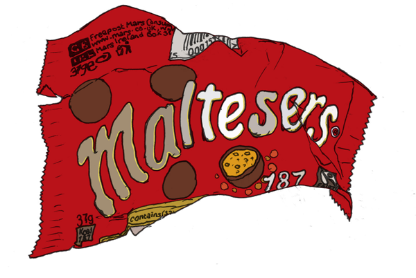 Candies drawing realistic. Maltesers packet my drawings