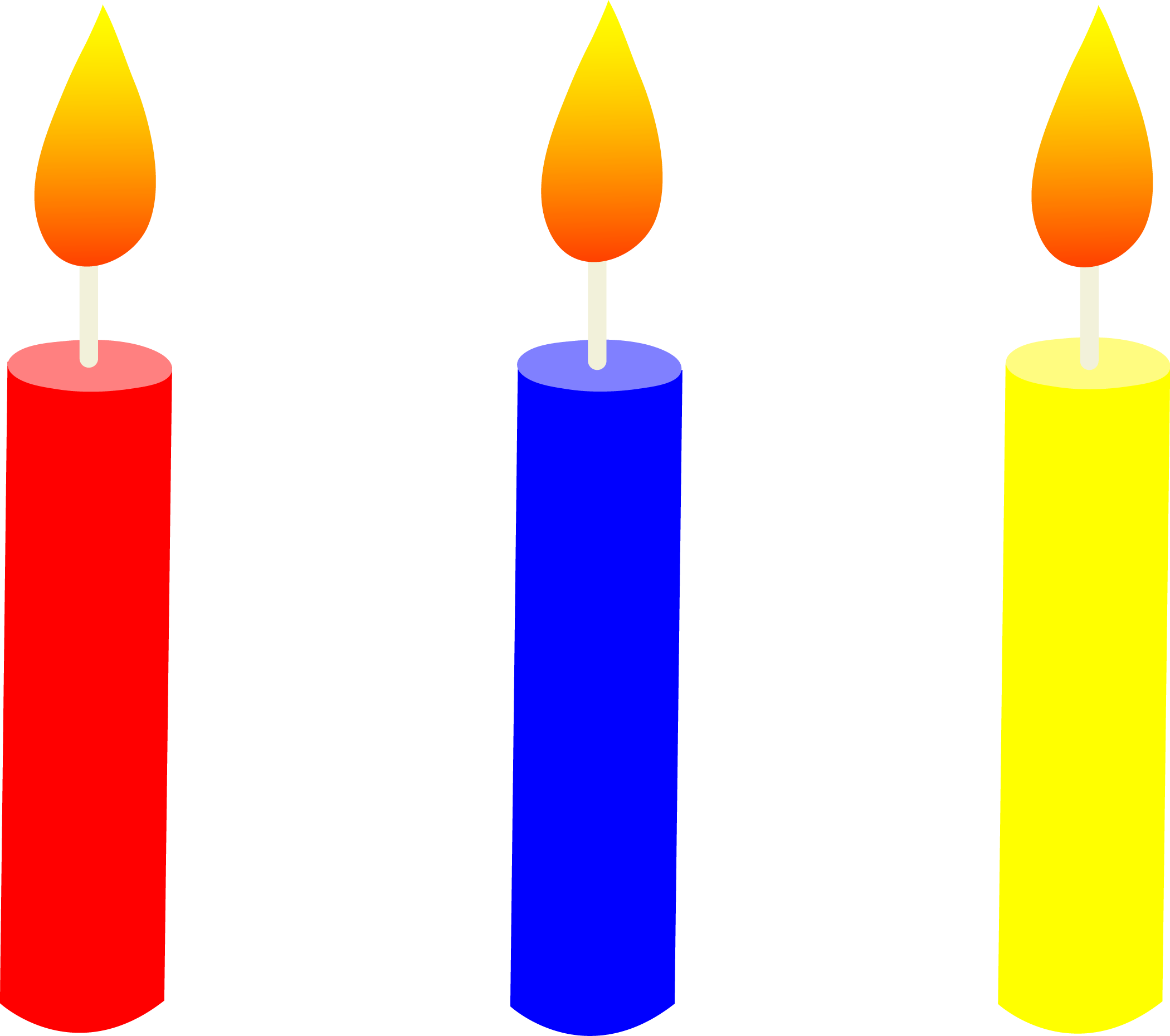 Drawing candle lighted. Birthday clipart