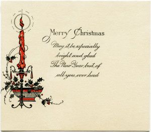 Candle clipart old fashioned. Antique christmas card vintage