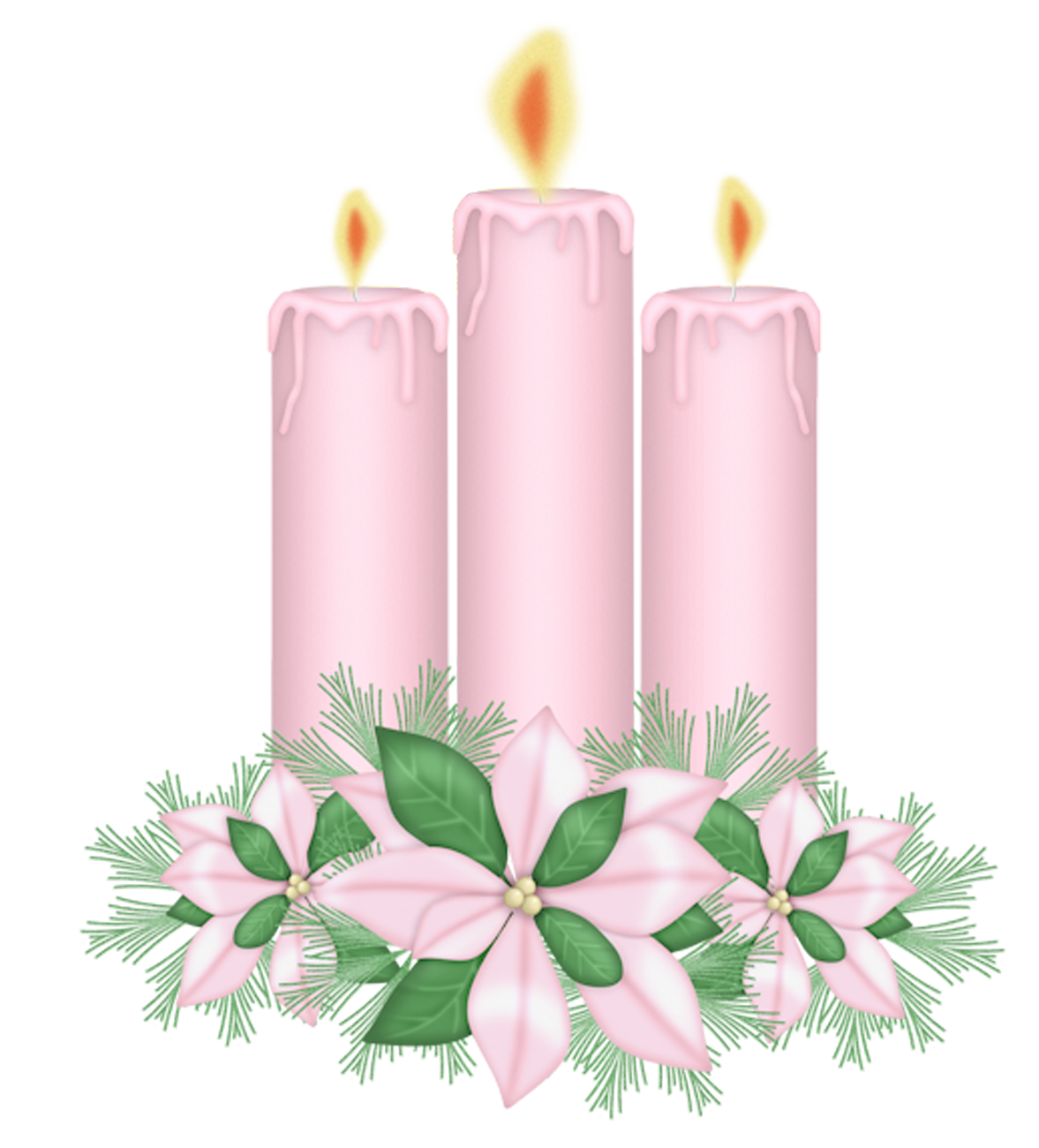 Candle clipart pink. Candles with flowers gallery