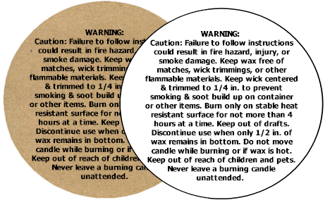 Candle label png. Soap warning labels round