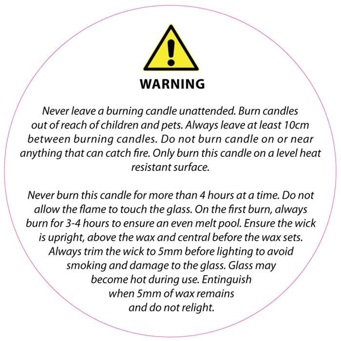 Candle label png. Mm clear safety