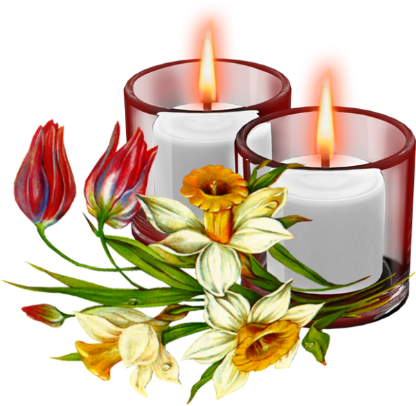 Candles and flowers png. Candle mass day february