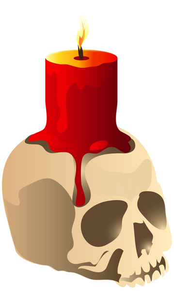 Halloween Skull Candle PNG Clipart Image