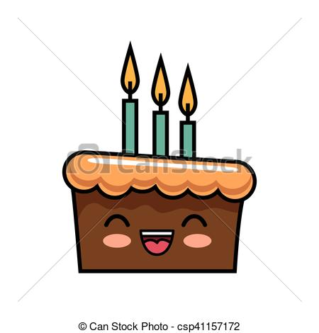 Candles clipart kawaii. Cute cake chocolate happy svg library