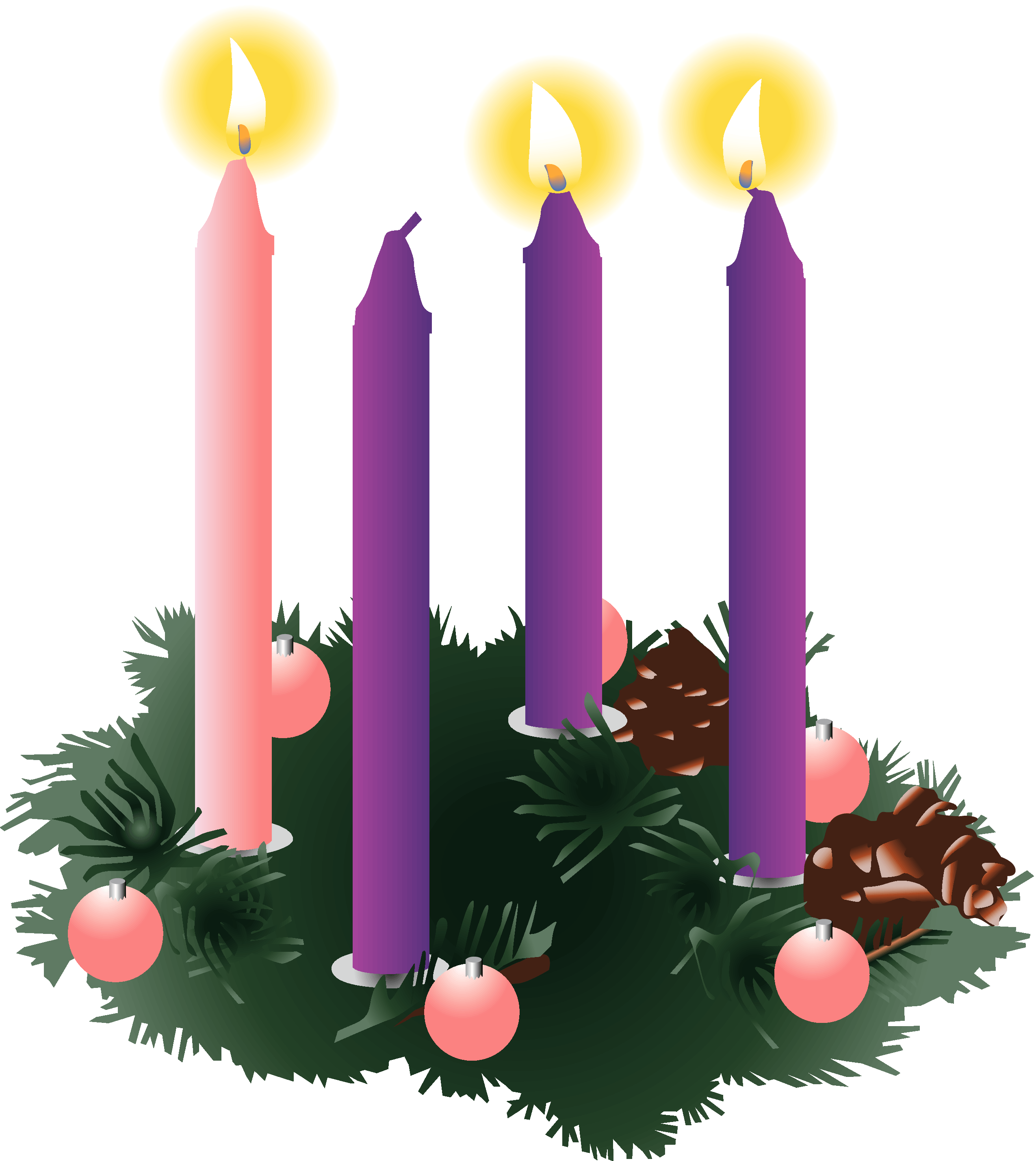 Candles png three. Four purple advent lit