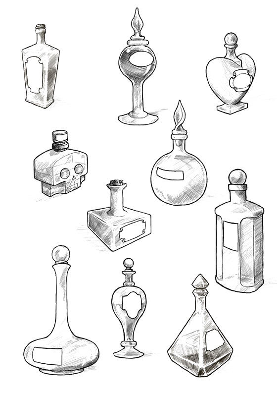 Drawing candle old. School tattoo potion bottle