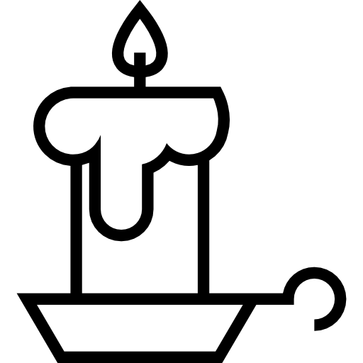 Candlestick drawing candle sketch. Burning on a outline