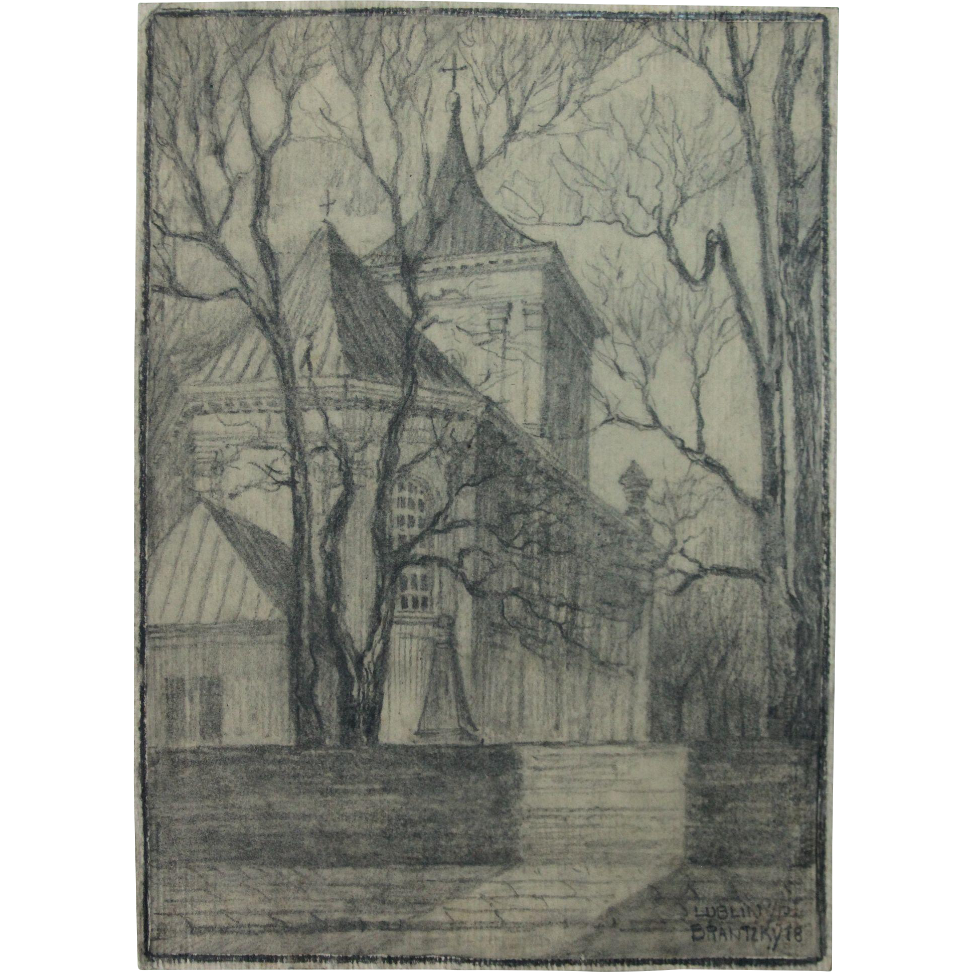 Candlestick drawing charcoal. Original of a church