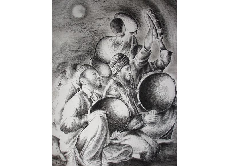 Shy drawing charcoal. Ink conte sujata dere