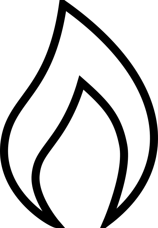 Candlestick drawing fire. Candle flame silhouette at