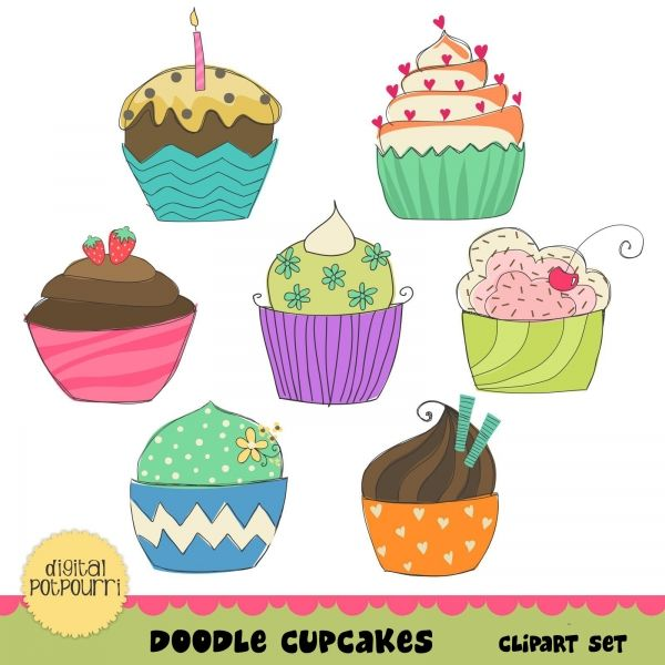 Candy clipart cupcake. Doodle cupcakes brights clip