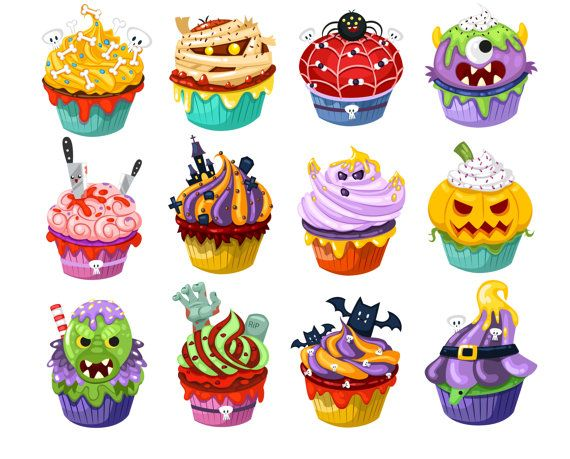 Candy clipart cupcake. Halloween by vectorwizard on