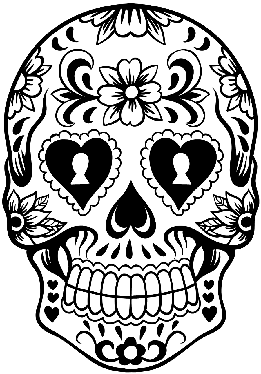 charra drawing sugar skull girl tattoo
