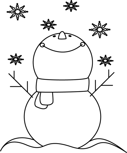 Cane drawing snowman. Black and white catching