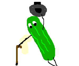 Cane drawing fun. Chrunchy pickle with top
