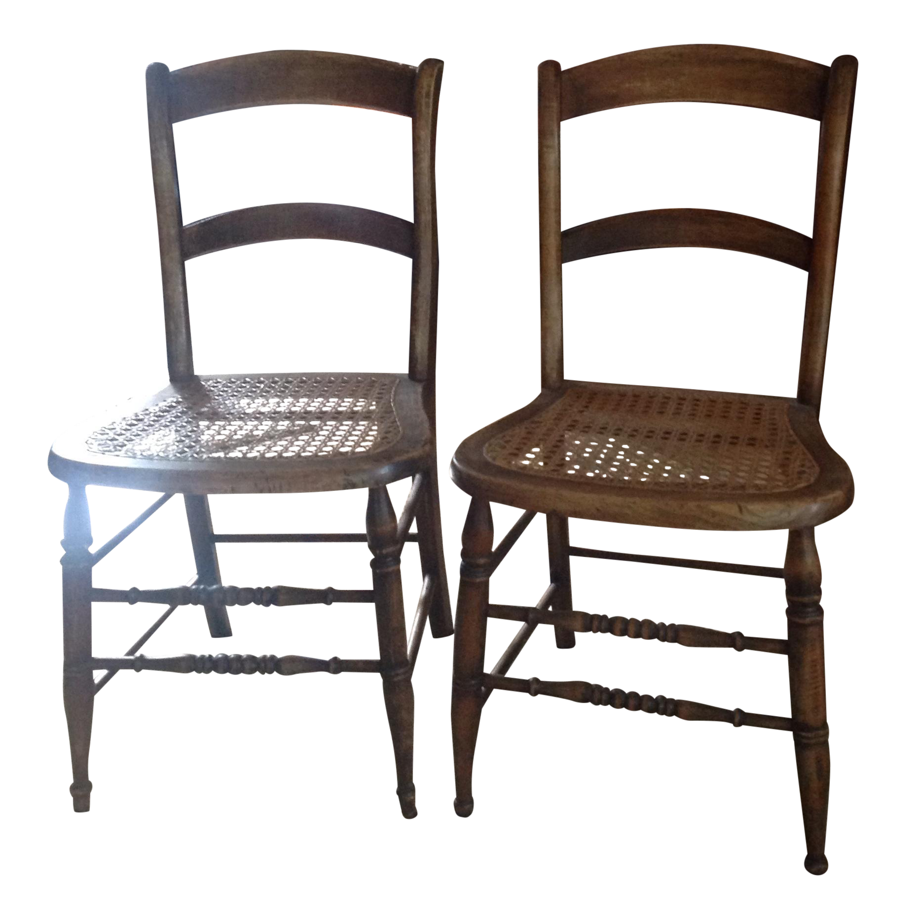 Cane drawing walnut. Antique seat dining chairs