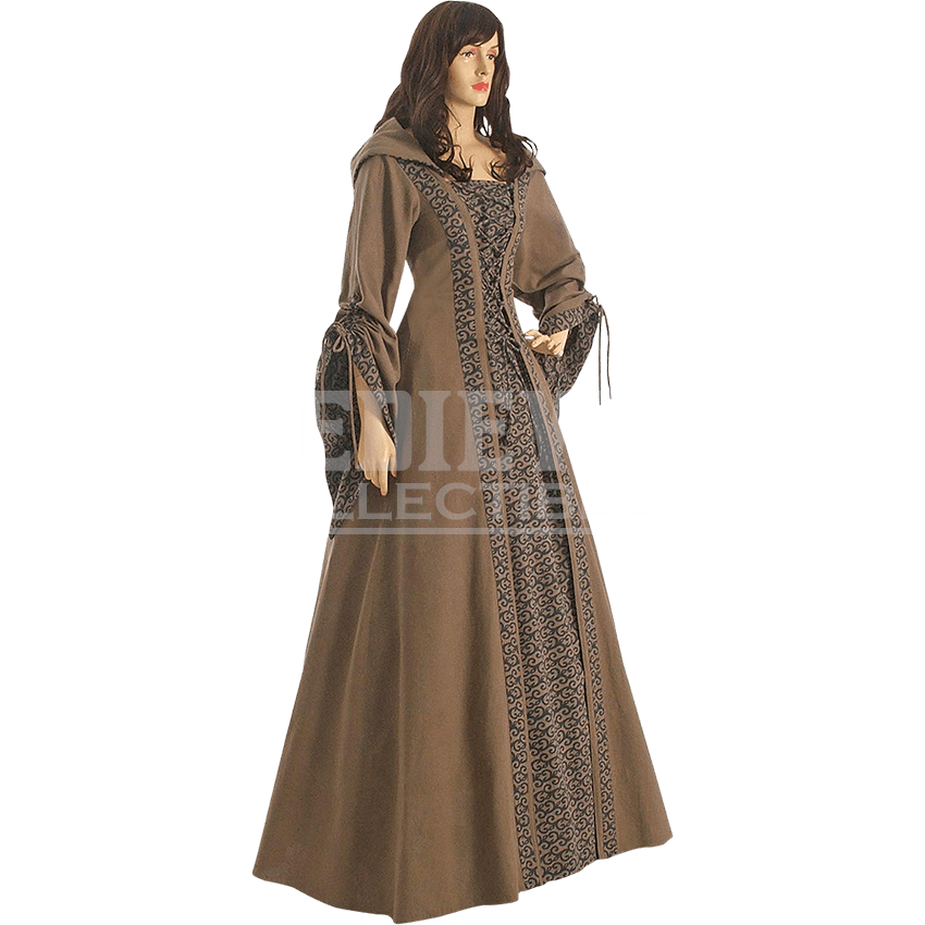 Cane transparent dress. Brown medieval maiden hooded