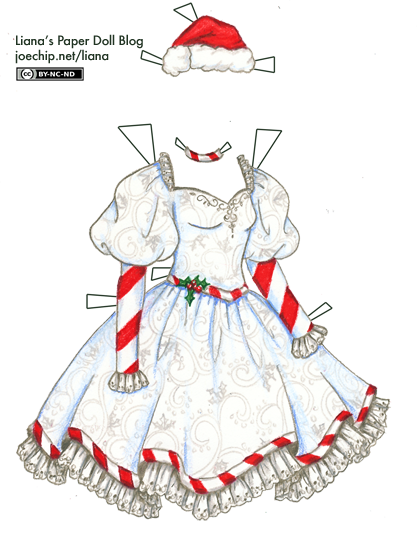 Cane transparent dress. White christmas with red