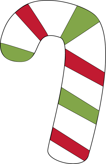 Cane transparent red candy. And green clip art