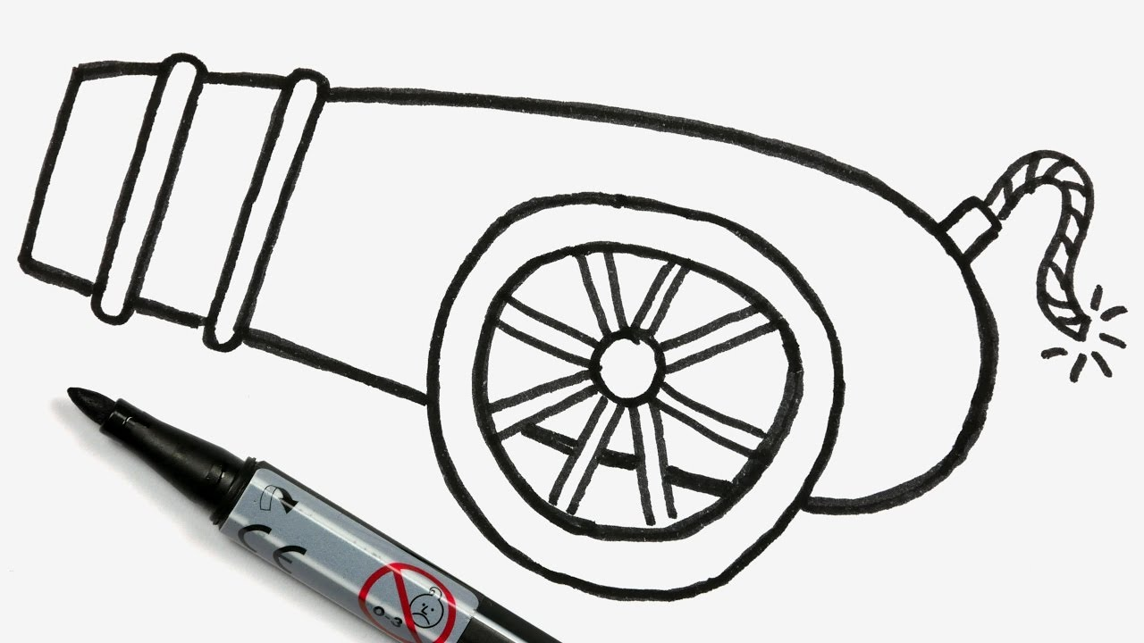 cannon clipart easy draw