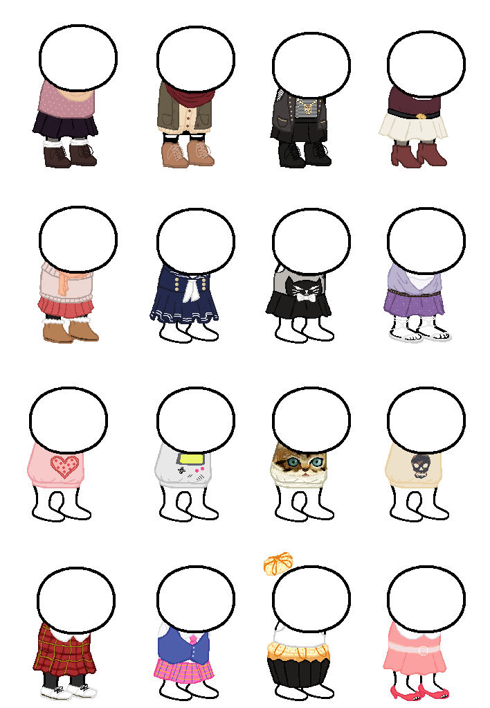 Transparent base homestuck. Clothing sprite sheet by