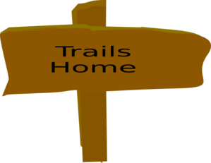 Canyon vector. Trail sign from box
