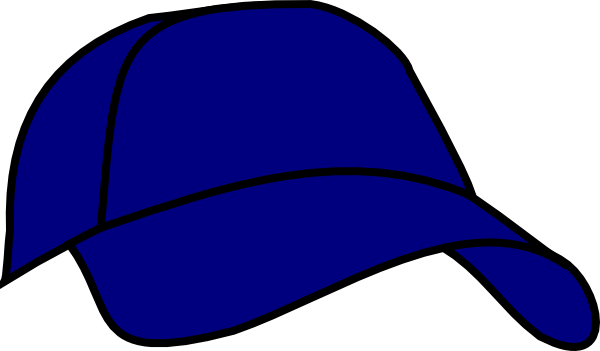 Cap clip hat outline. Blue baseball art at