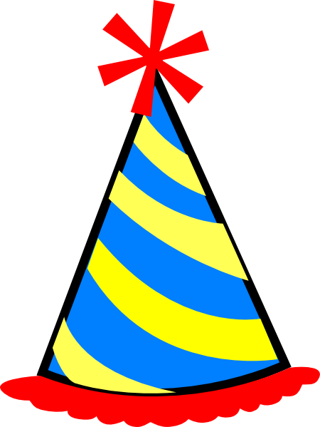 Hat svg party. Clipart red blue yellow