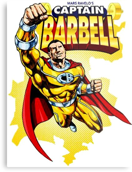 Captain clipart barbel. Barbell metal prints by