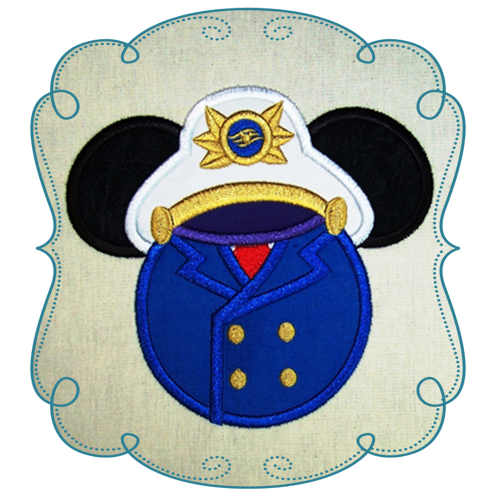 Ear applique machine embroidery. Captain clipart mickey mouse vector library stock