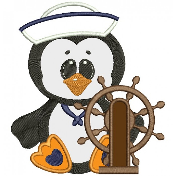 Captain clipart penguin. Marine applique machine embroidery