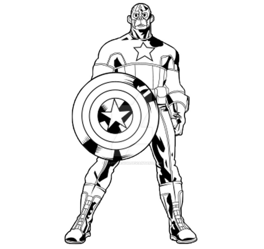 Drawing marvel black and white. Outline captain america monkey