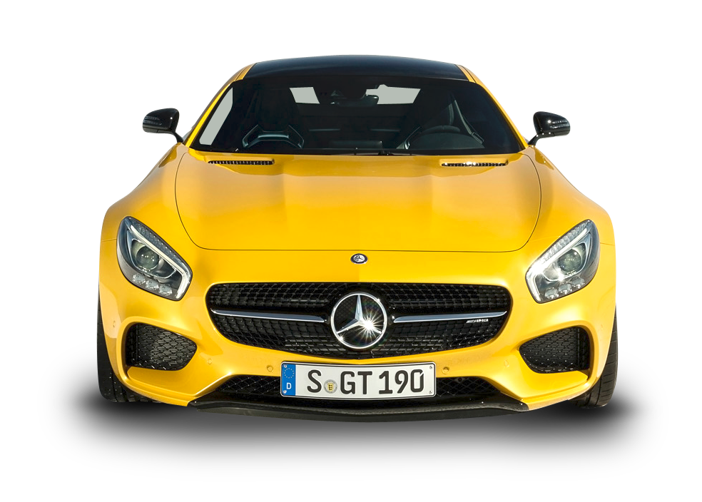 Car front png. Yellow mercedes amg gt
