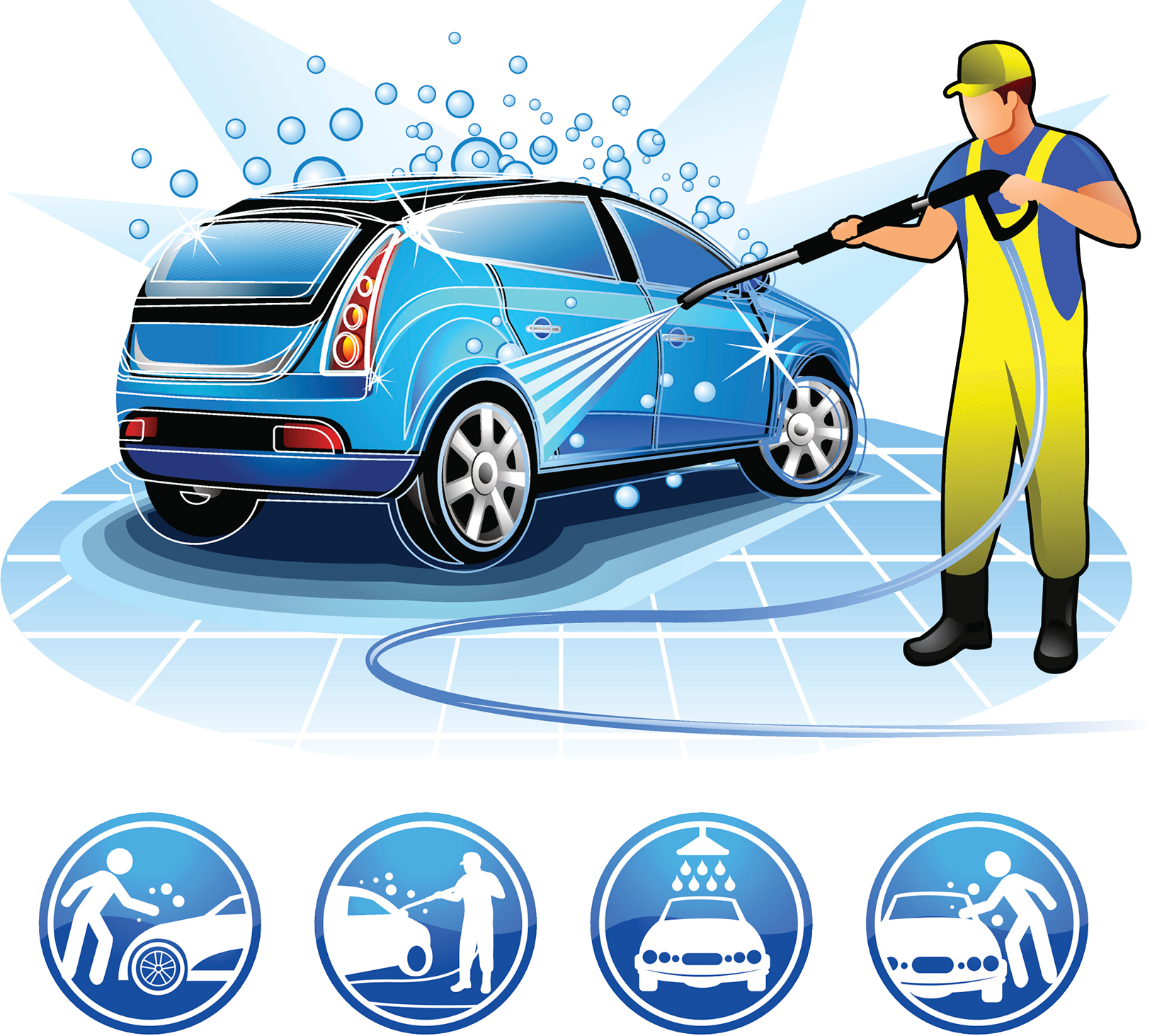 Car wash png. Cartoon illustration beauty care