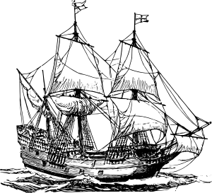Caravel drawing class 7. Carrack ship clip art